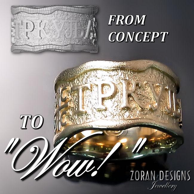 Custom designed men's family ring