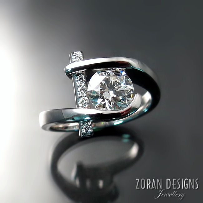 Contemporary custom made diamond engagement ring
