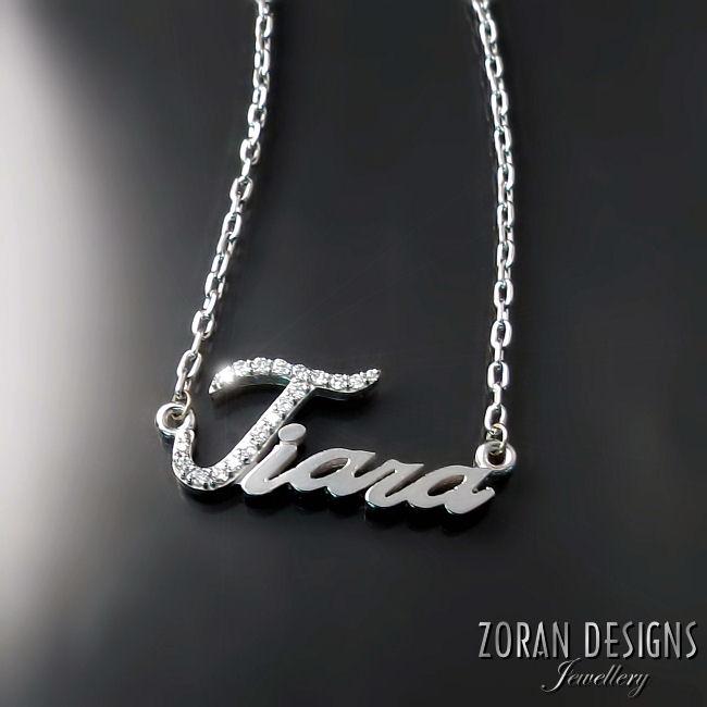 Custom made diamond name necklace