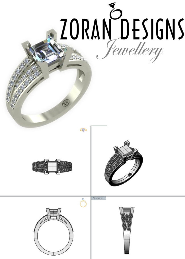 Custom engagement ring design: modern style with princess cut