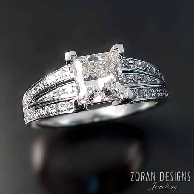 Custom engagement ring designer: this princess cut diamond is set in a modern design
