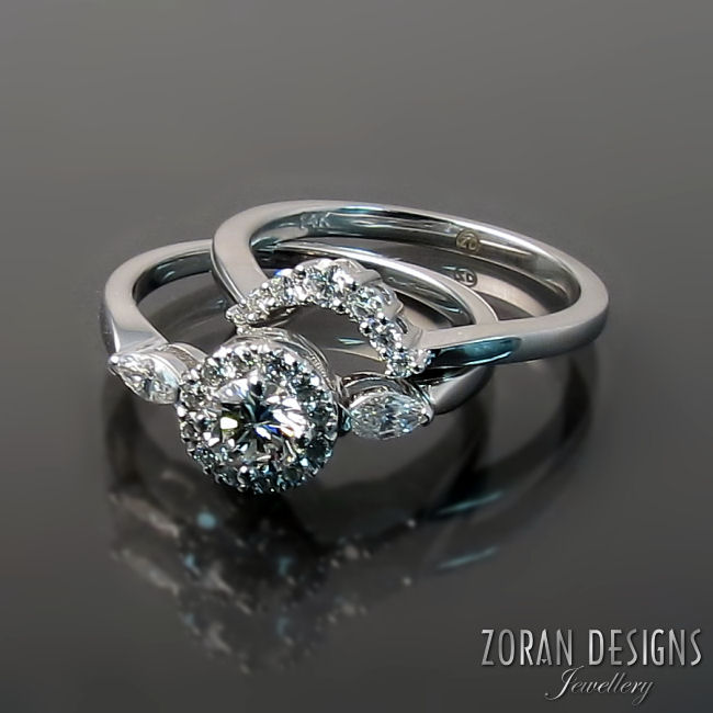 Contoured wedding band custom made to curve and sit perfectly next to engagement ring