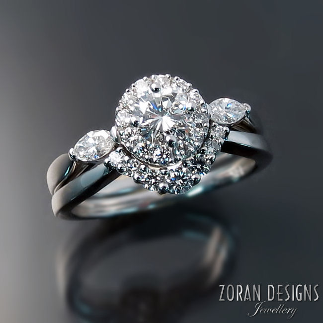 Contoured diamond wedding band custom made to match engagement ring