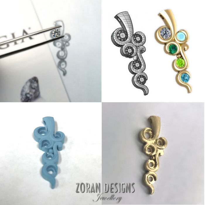 Custom pendant in various stages of completion
