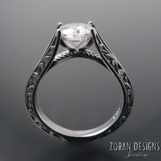 Unique, split shank engagement ring with elegant vine details