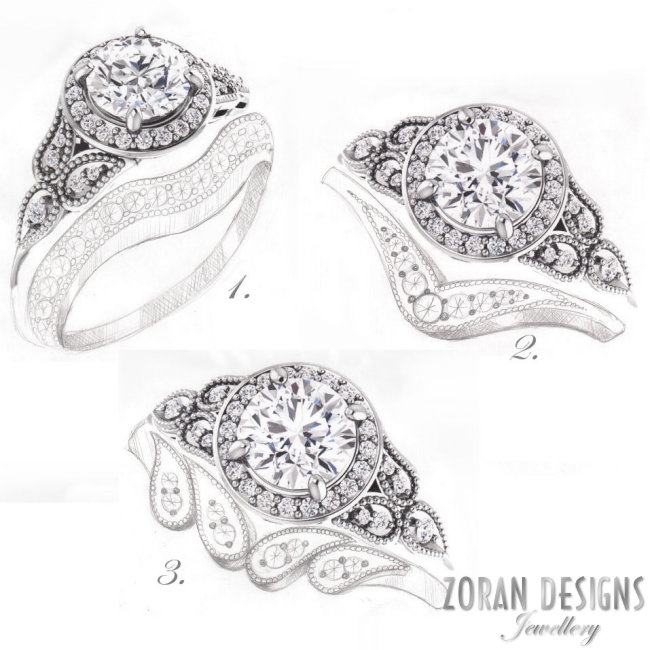 Designer concept sketches for unique, matching wedding band