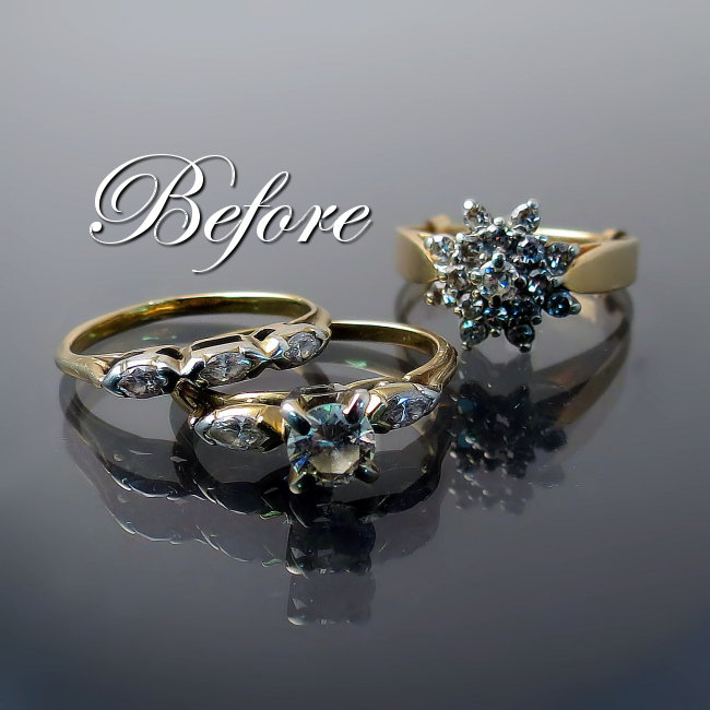 The BEFORE shot of the old rings which we redesigned into a completely new look