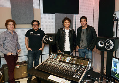 Pictured at Vintage King Los Angeles are (L-R) Jeffrey Ehrenberg, VK West Coast Sales Mgr.; Fadi Hayek, SSL VP Music Products; composer/producer Anthony Marinelli; and Tedi Sarafian, Barefoot Sound CEO.  Photo by David Goggin.