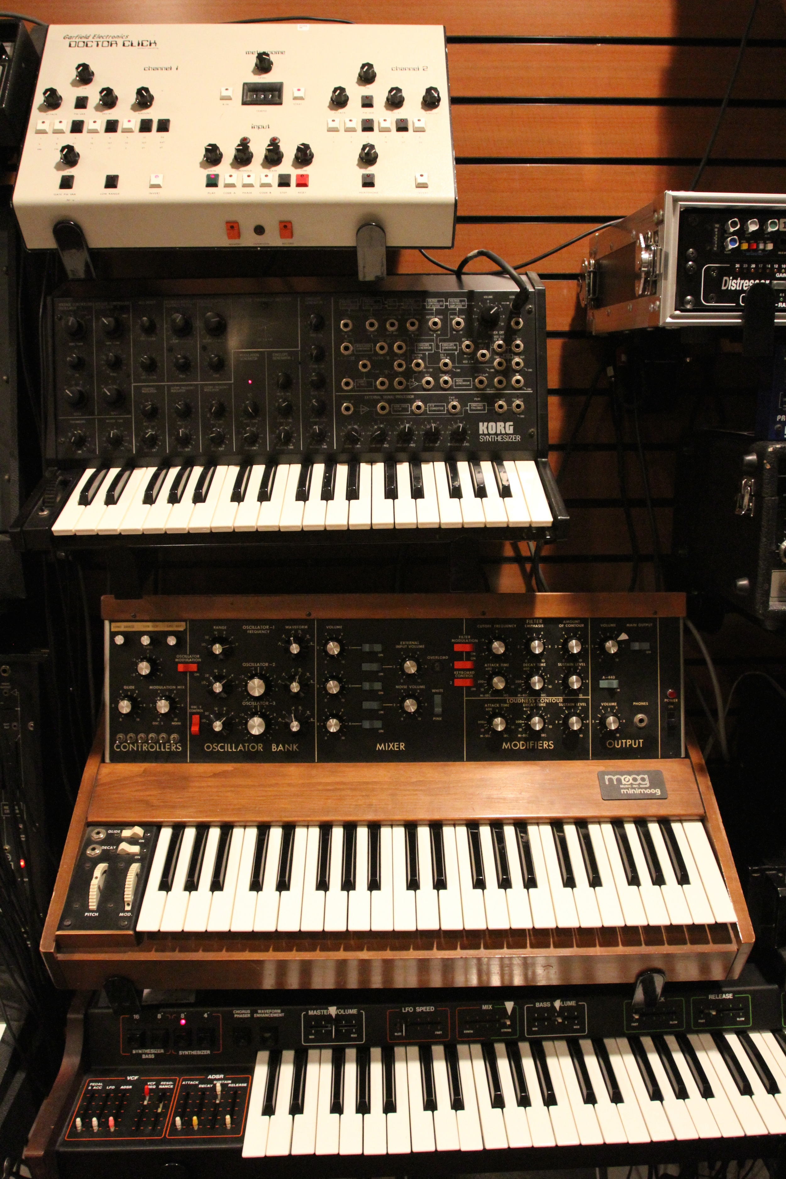 The beloved Dr. Click, with the MS-20, Mini Moog and ARP Omni.