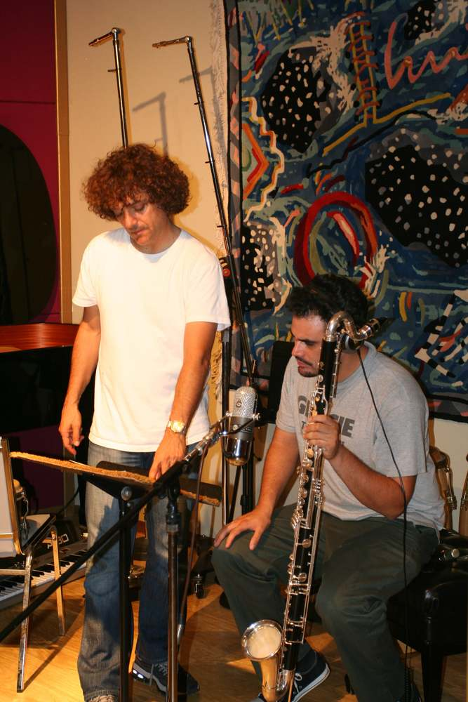 Anthony Marinelli (left) and Uli Bella (right) reviewing the bass clarinet part for Herb Alpert Whipped Cream and Other Delights REMIXED album in his Hollywood and Highland studio, Hollywood, CA, 2006