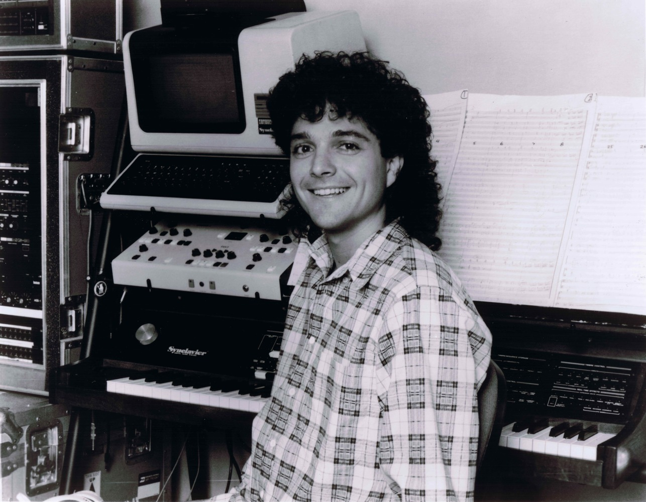 "Anthony Marinelli with his Synclavier Digital Music System and rack mounted synthesizers used on Michael Jackson's mega-hit album ""Thriller"", Hollywood, CA  1985"