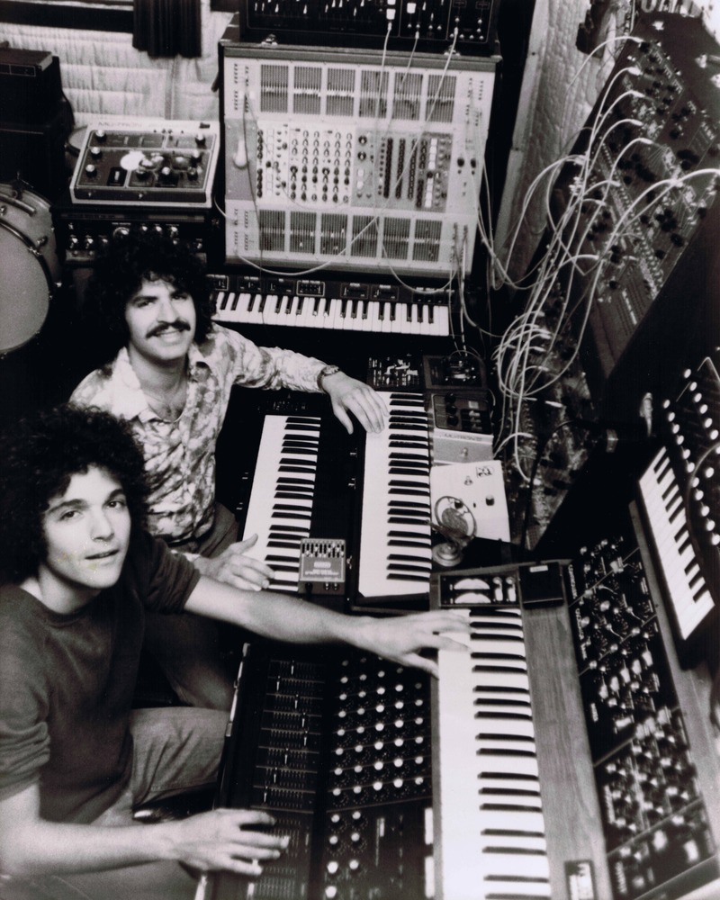 left to right, Anthony Marinelli and Brian Banks debut photo forThe Synners  a synthesizer ensemble performing classical symphonic music on live radio, North Hollywood, CA, 1977