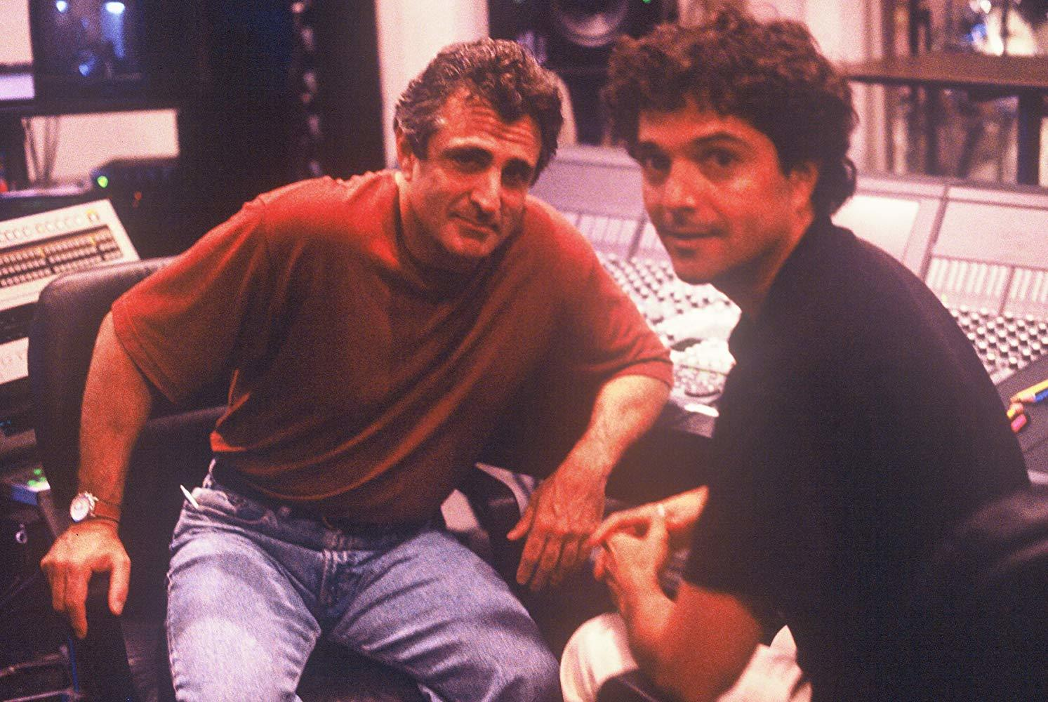 "Director John Herzfeld with composer Anthony Marinelli working together on the score for the cult classic  ""2 Days in the Valley"" featuring Charlize Theron. Hollywood, CA, 1996"