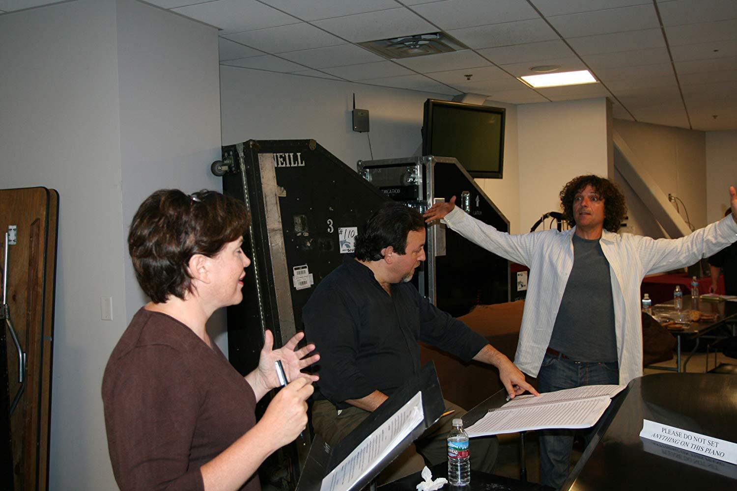 "Julia Sweeney (SNL), Lucas Richmond and Anthony Marinelli rehearsing  ""In the Family Way"" an orchestral work commissioned by Leonard Slatkin and the LA Philharmonic at the Hollywood Bowl, 2006"