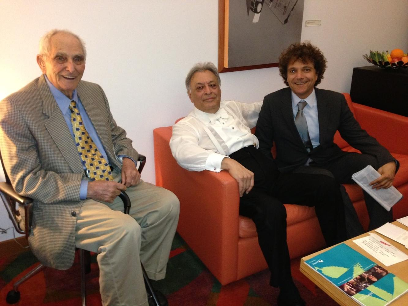 Intermission: Carmine Marinelli (left), maestro Zubin Mehta and Anthony Marinelli catching up during Zubin's 50th anniversary concert at Disney Hall, Los Angeles, 2012