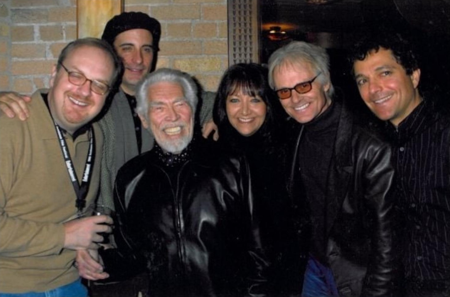 L to R, George Hickenlooper, Andy Garcia, James Coburn, Doreen Ringer-Ross, Michael DeBarre and Anthony Marinelli. Man from Elysian Fields pre-screening, Sundance Film Festival, Park City, UT, 2001