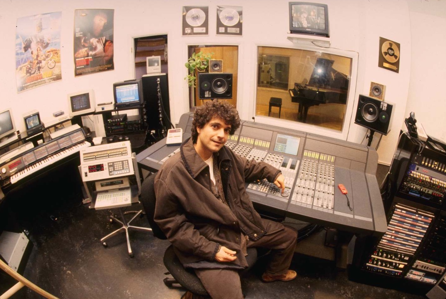 Anthony Marinelli in his recording studio with his new Euphonix CS2000, Hollywood, CA, 1998