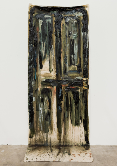 "A Shitty Black Door    2012, Oil on Canvas, 61"" x 26 ¼"" x 10 ¾"""
