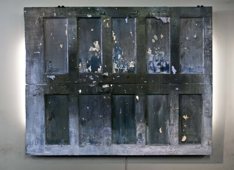 From Above the River Presses (Snake, December, 1811) mixed media on antique doors, LED bars, 60 x 80 in. 2016 : Photo from -http://joshuahagler.com/river