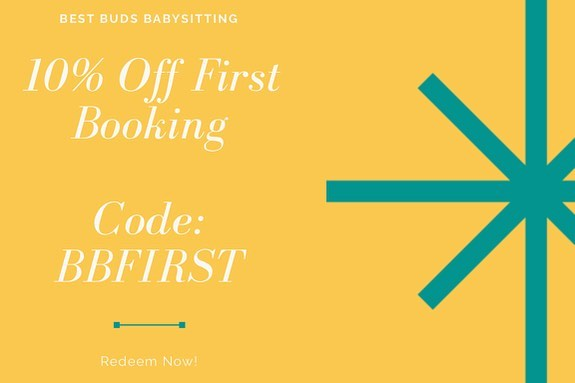 Did you know that ALL new customers get 10% off their first booking??! Book now and get yours! This is valid in Houston AND Dallas! Code is: BBFIRST! #savings #firstbooking #houstontx #dallastx #bestbudsbabysitting #nightout #houstonmom #dallasmom