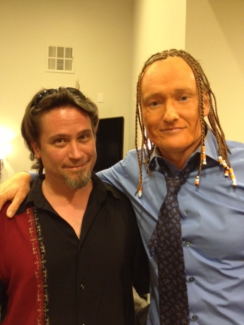 I painted Conan a bad spray-tan orange for his show. Hard to see color in this pic!
