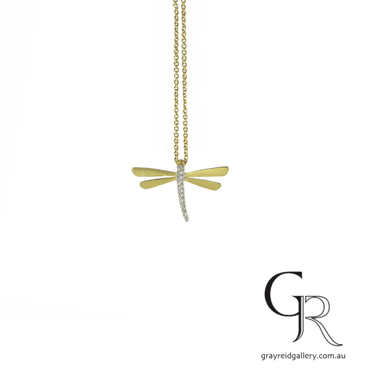 Gold & Diamond Dragon Fly Pendant