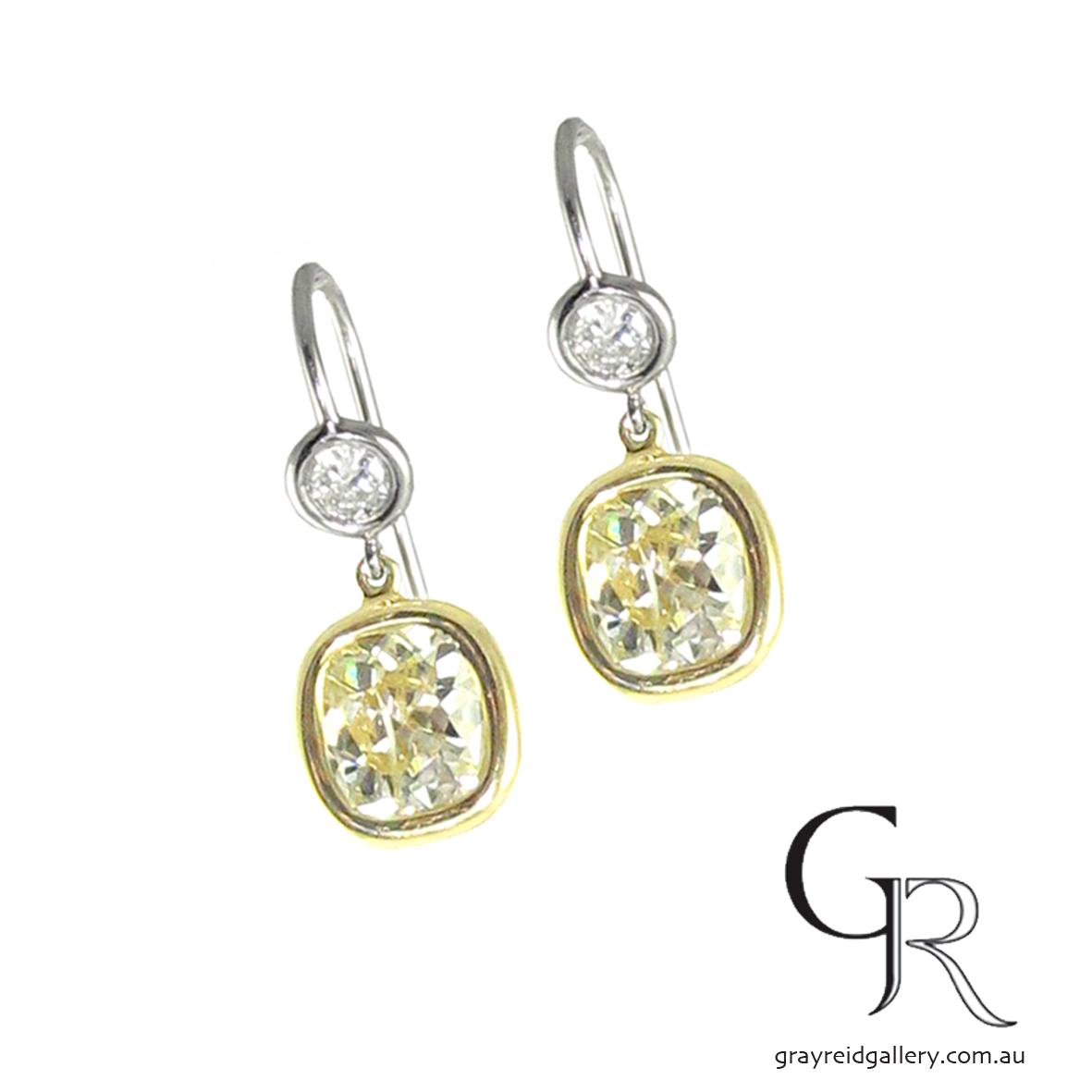Yellow Diamond Earrings Melbourne Gray Reid Gallery.JPG