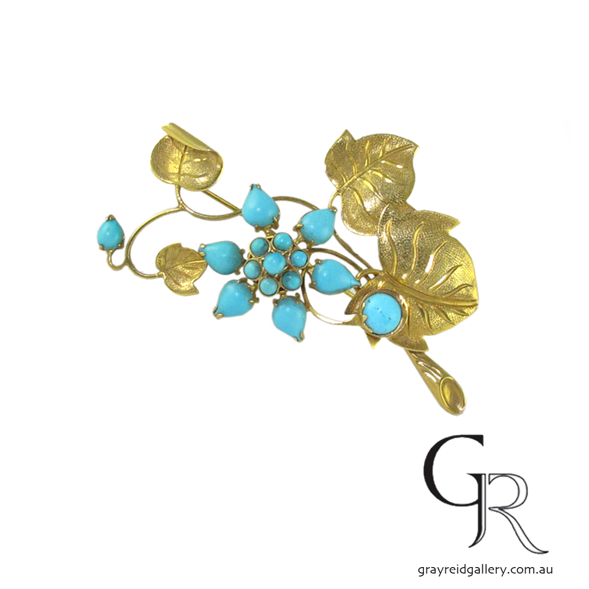 Turquoise Antique Brooches Melbourne Gray Reid Gallery.JPG