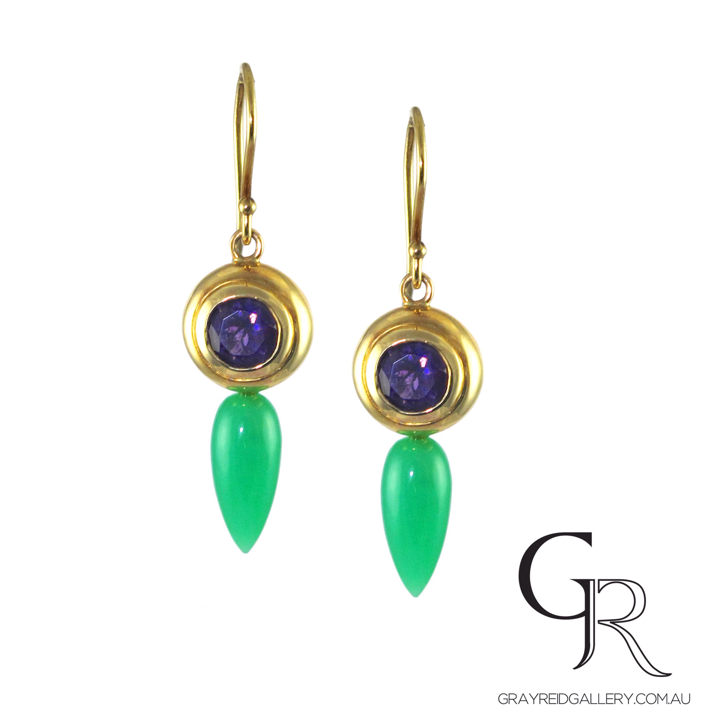 Chrysoprase and amethyst earrings in 18ct yellow gold.