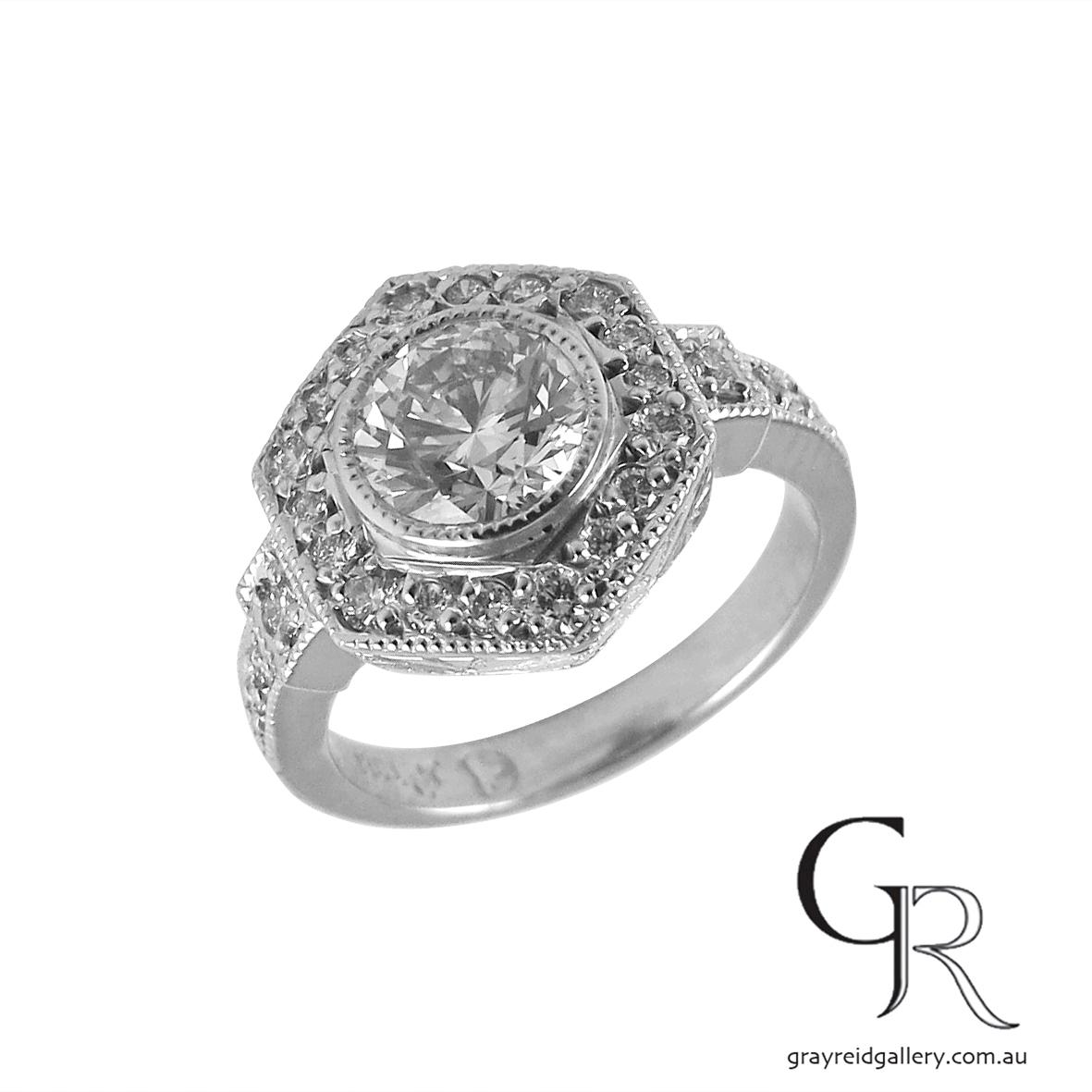 hexagonal deco inspired diamond ring emgagement engraved 1.jpg