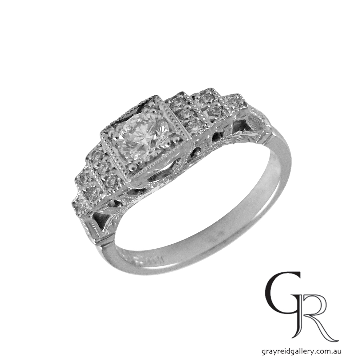 Diamond set deco engraved engagement ring melbourne 2.JPG