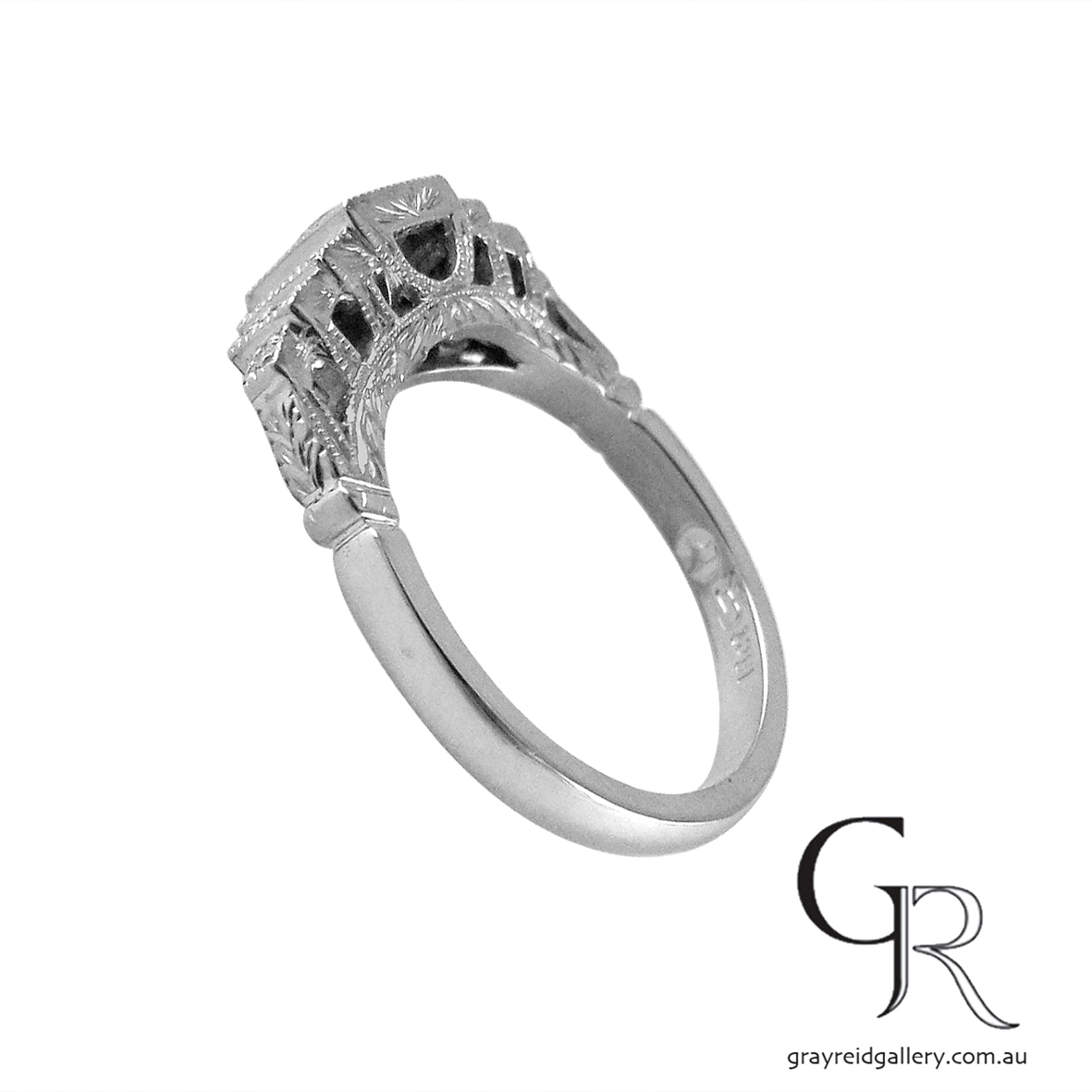 Diamond set deco engraved engagement ring melbourne 3.JPG