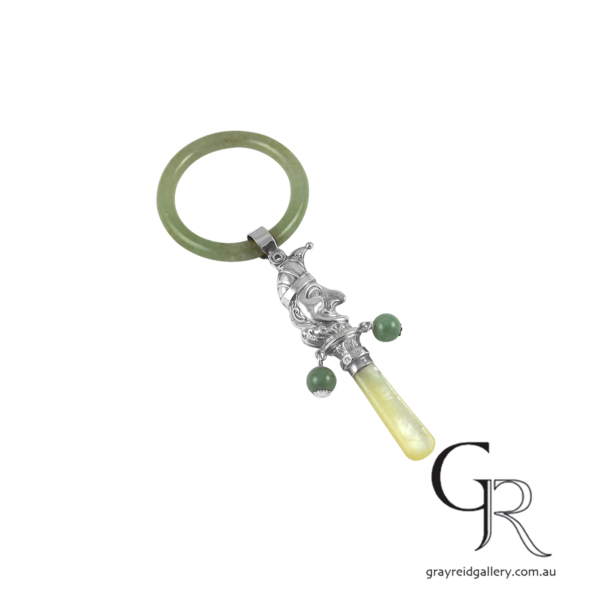 Sterling Silver & Jade Baby Toy