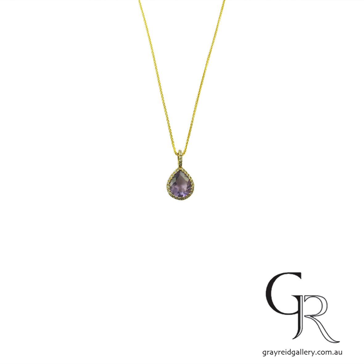 Amethyst & Yellow gold Pendant