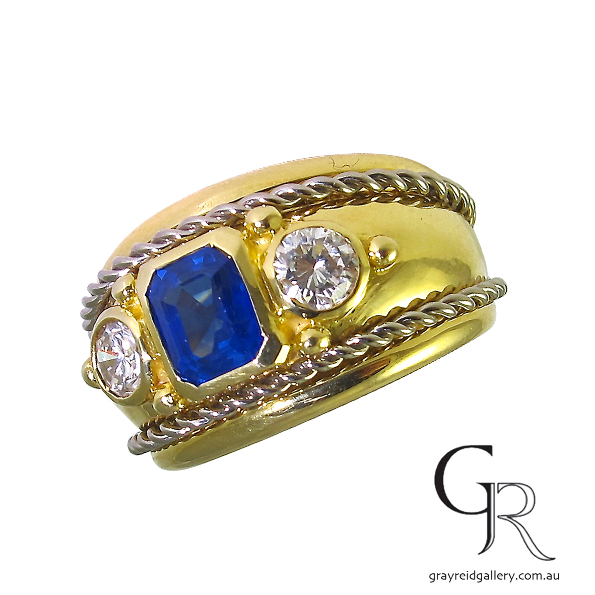 etruscan revival sapphire and diamond ring melbourne gray reid gallery side view.JPG