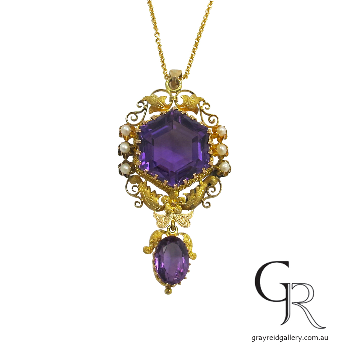 amethyst yellow gold antique pendant melbourne gray reid gallery.JPG