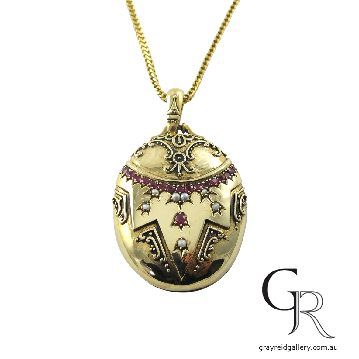 vintage yellow gold locket rubies melbourne gray reid gallery.JPG