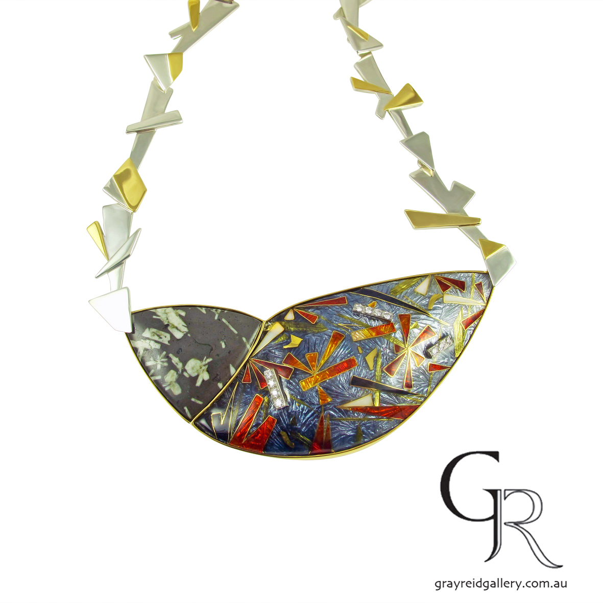 Enamel, Silver & Gold Necklace by Debbie Sheezel