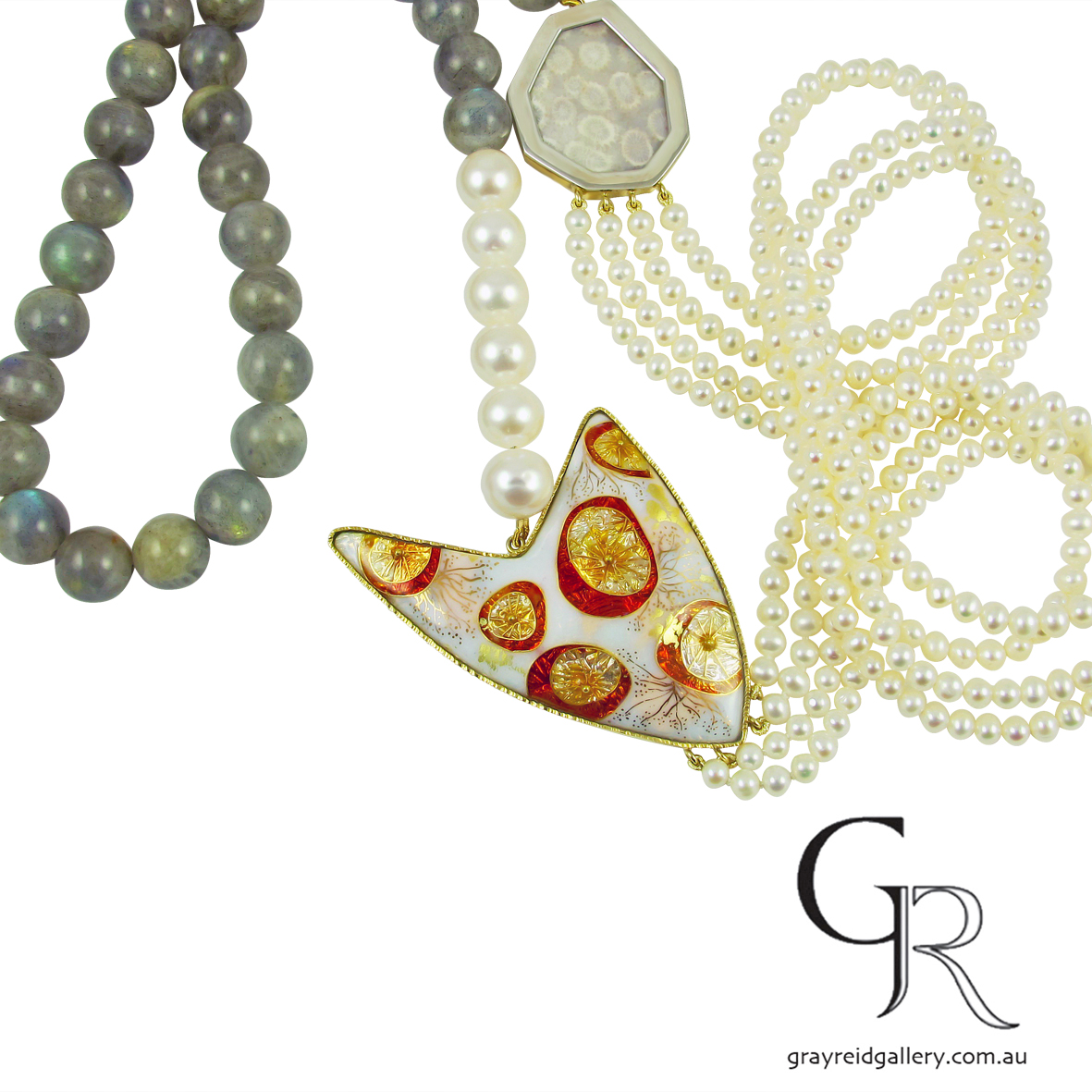 Enamel, Pearl & Labradorite Necklace by Debbie Sheezel