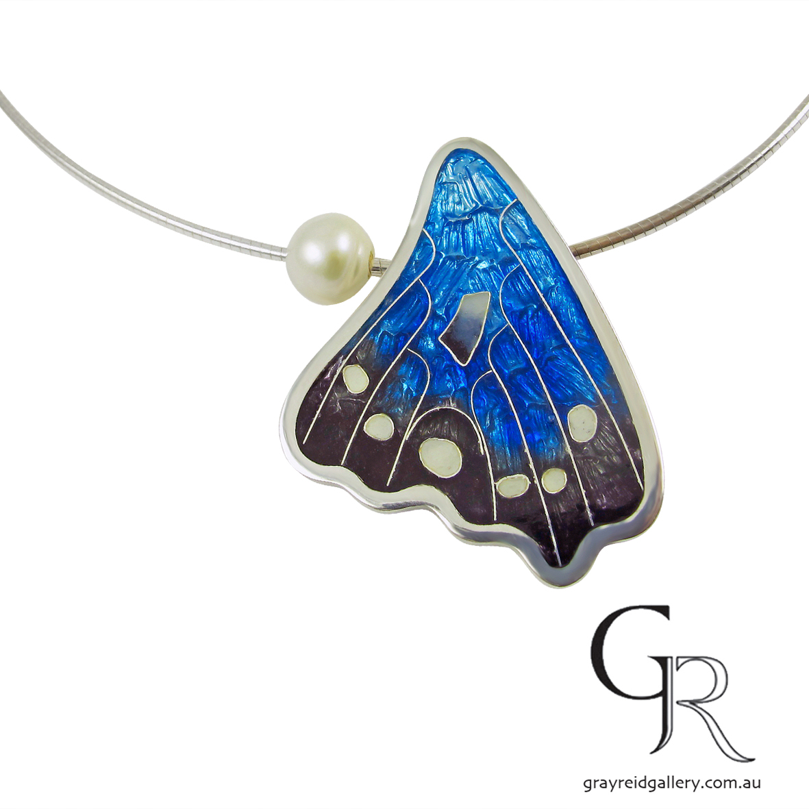 Blue Butterfly Wing Pendant by Debbie Sheezel