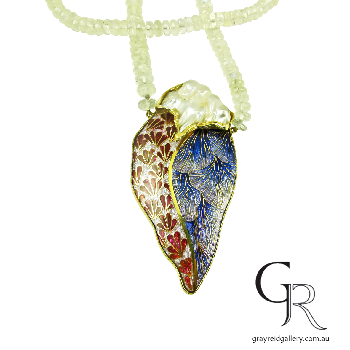 Enamel Pendant. Gold Cloisonné On Moonstone Beads