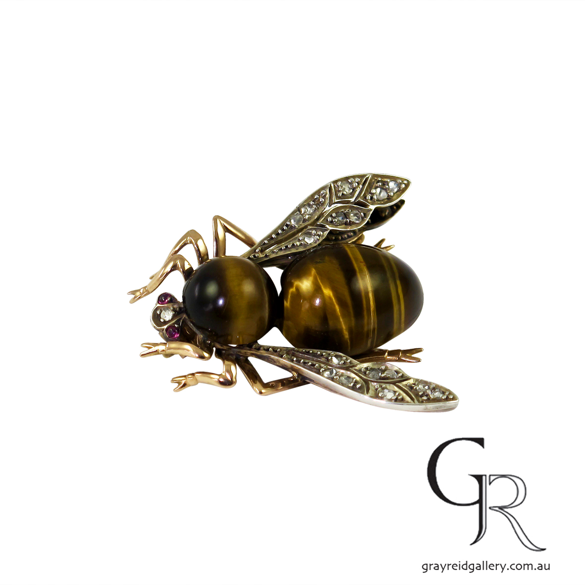 Antique Bee Brooch With Tiger Eye Body