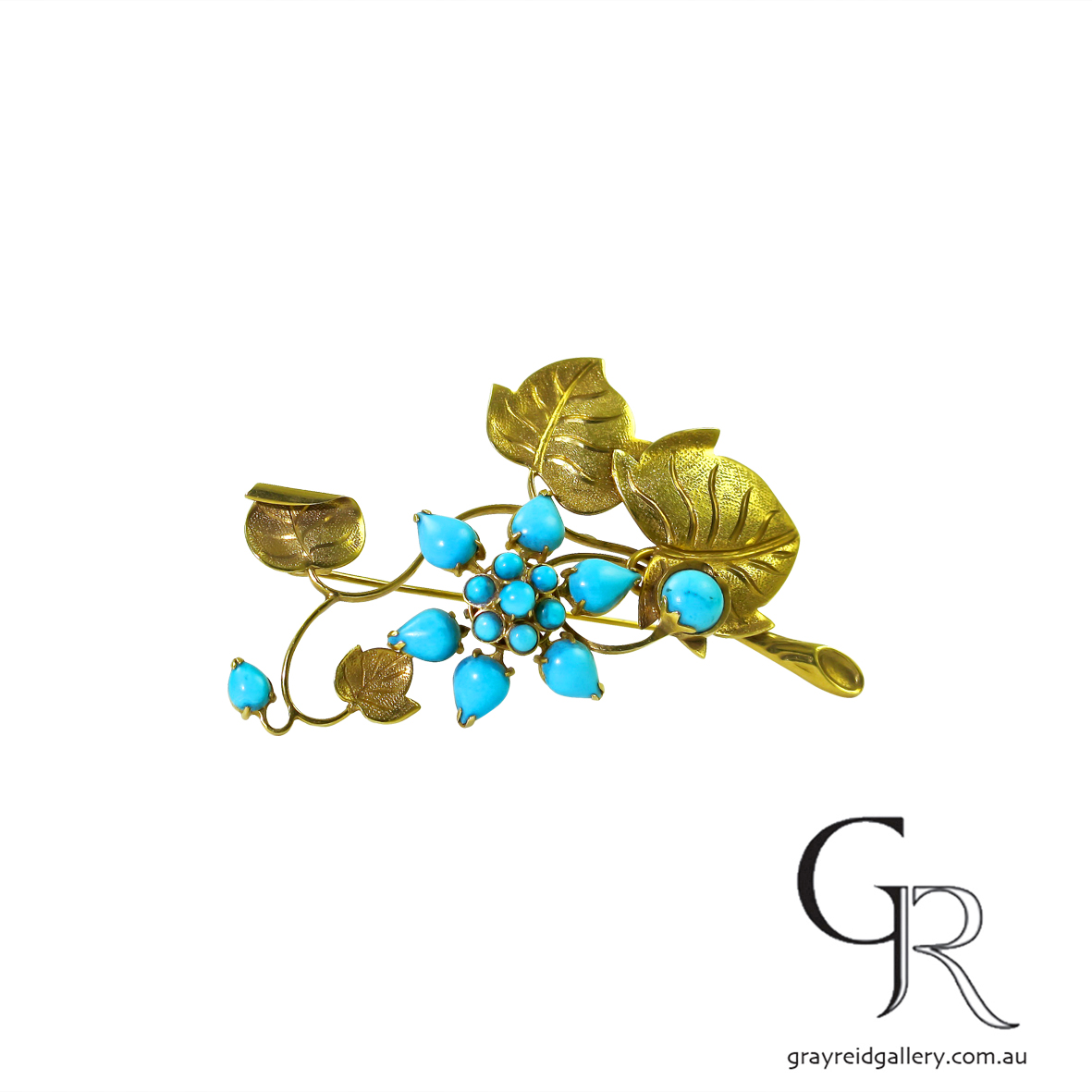 Vintage Gold Floral Brooch Set With Turquoise