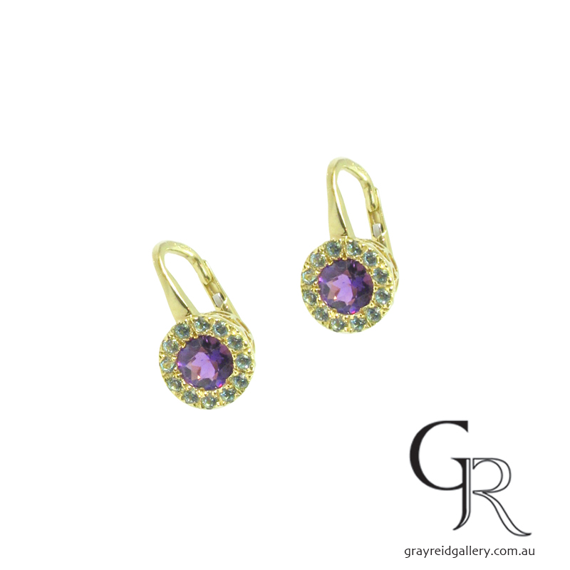 Amethyst & Emerald Earrings in Yellow Gold