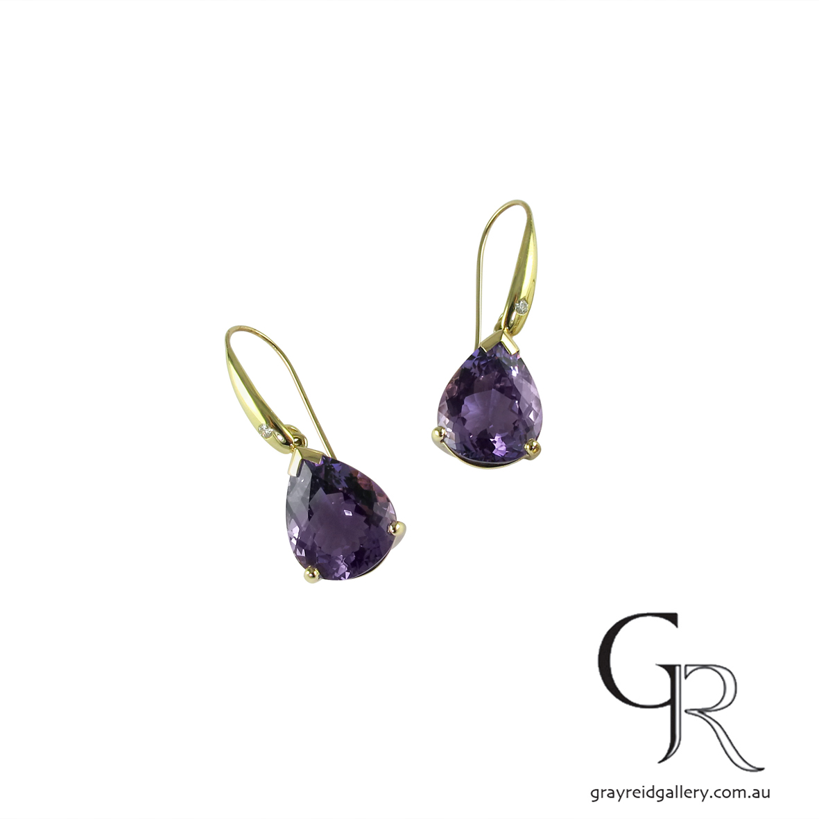 Amethyst Drop Yellow Gold Earrings