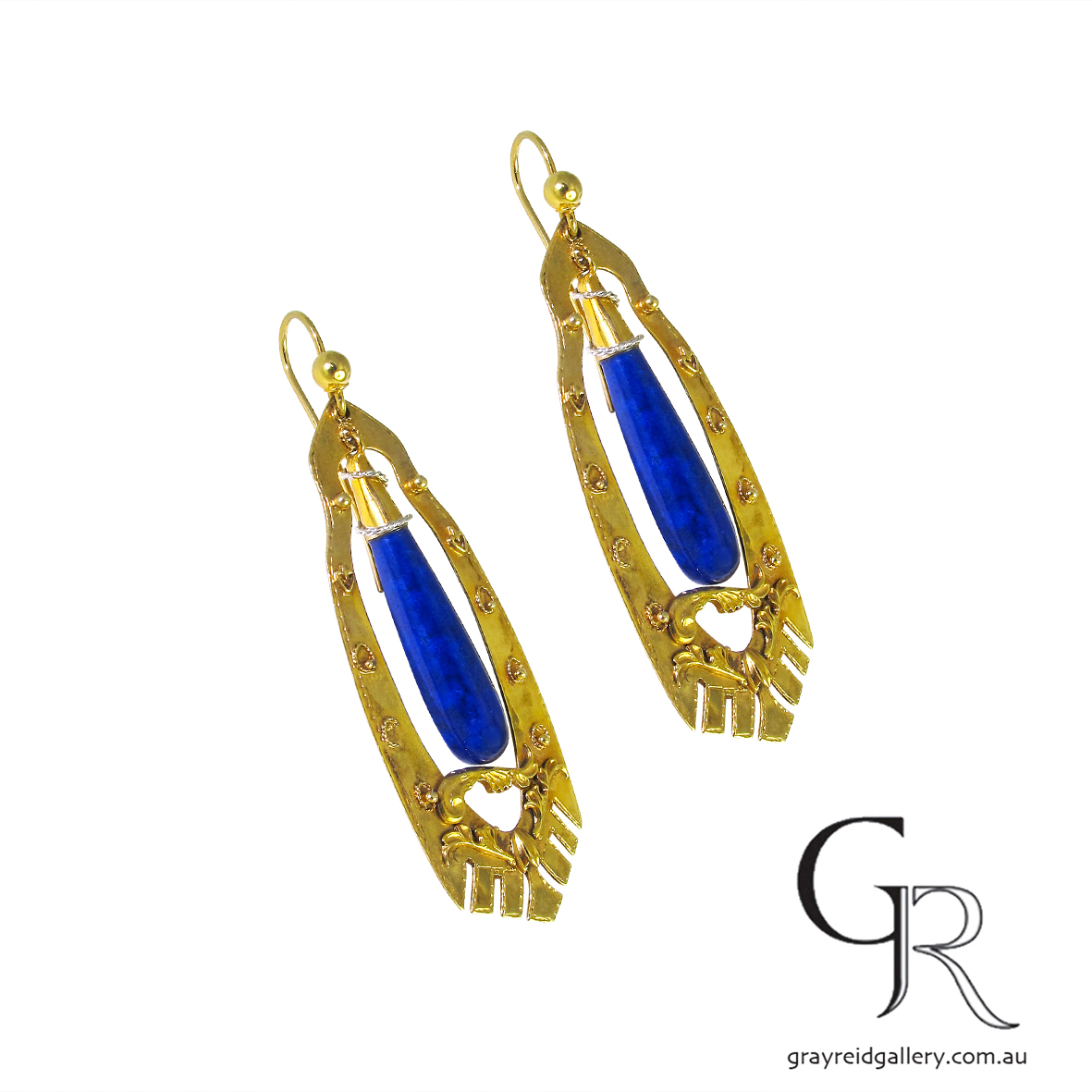 antique yellow gold lapis earrings melbourne gray reid gallery Melbourne Jeweller.JPG