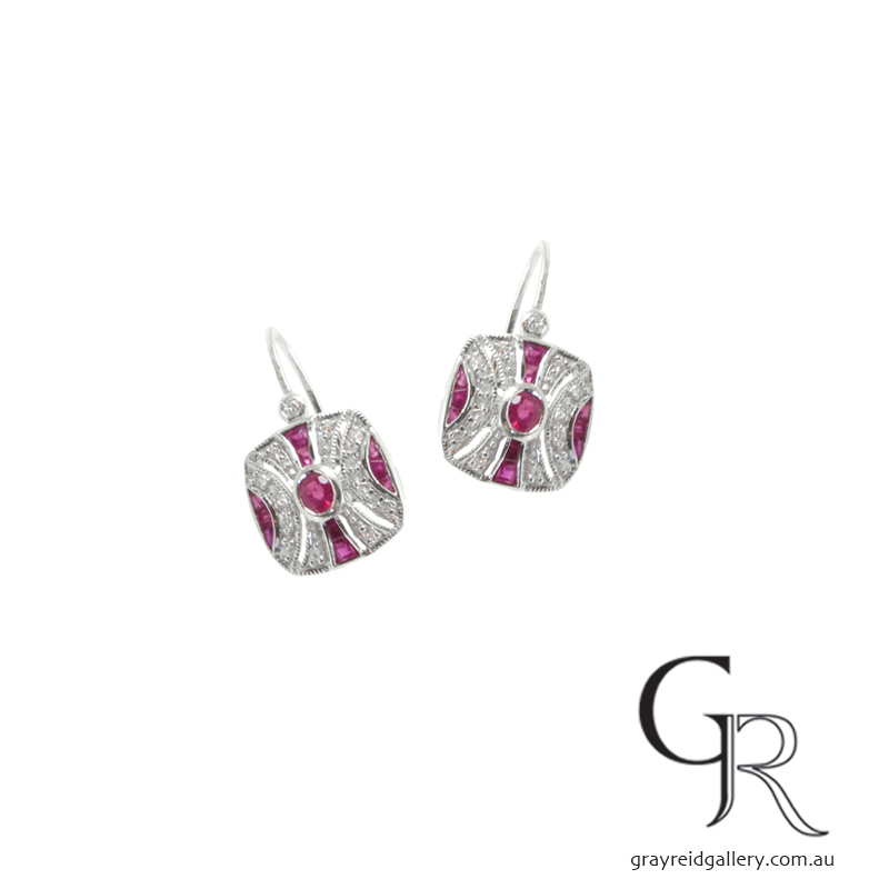 Deco Style Ruby & Diamond Earrings In Silver