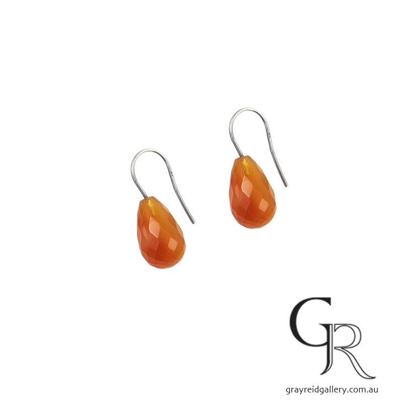 Carnelian Earrings With Silver hooks