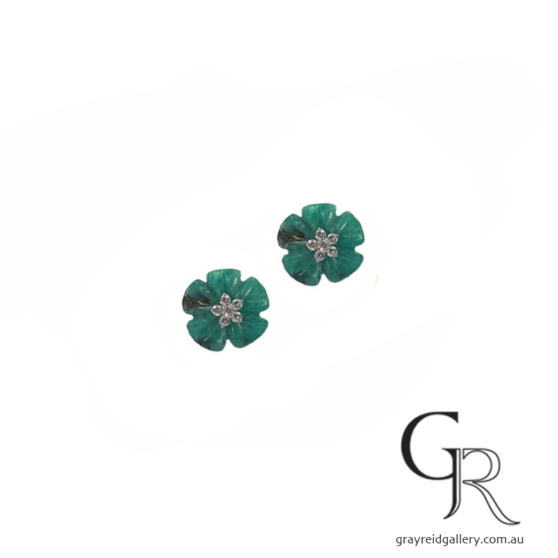 Carved Emerald Flower Enhancers