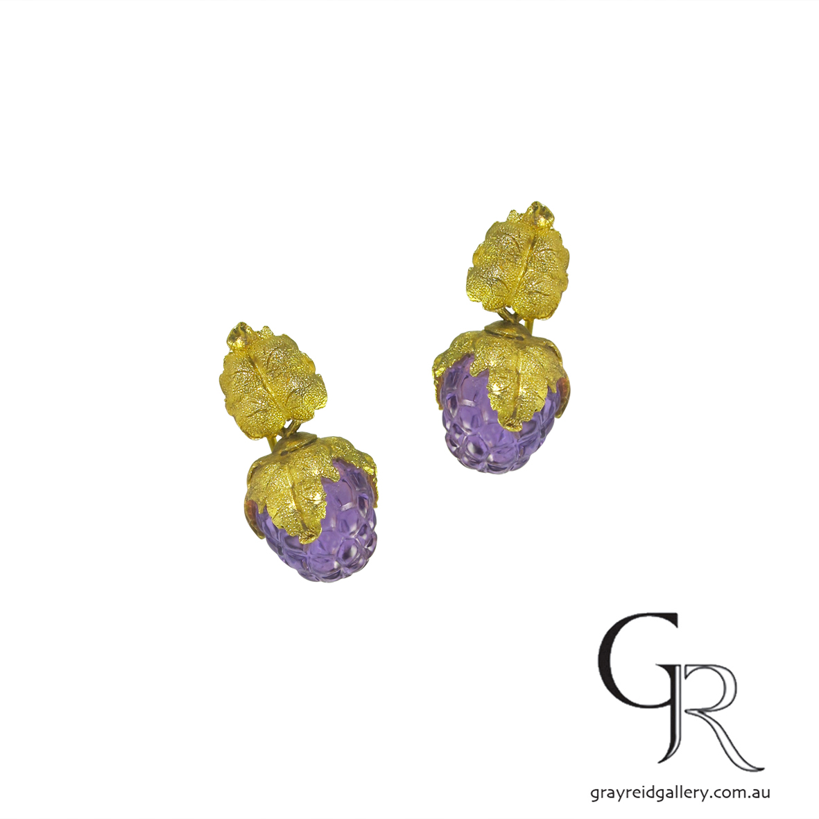 "Amethyst & Gold ""Grape Bunch"" Earrings"